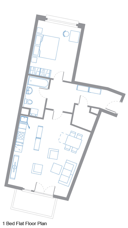 1 Bed Flat Floor Plan