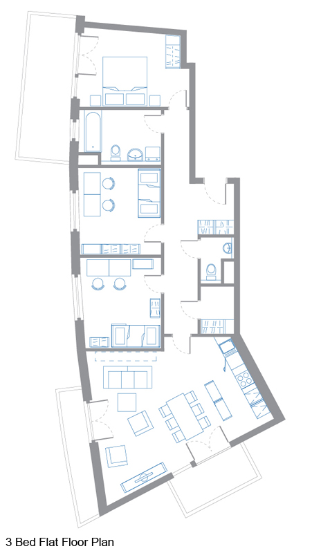 3 Bed Flat Floor Plan