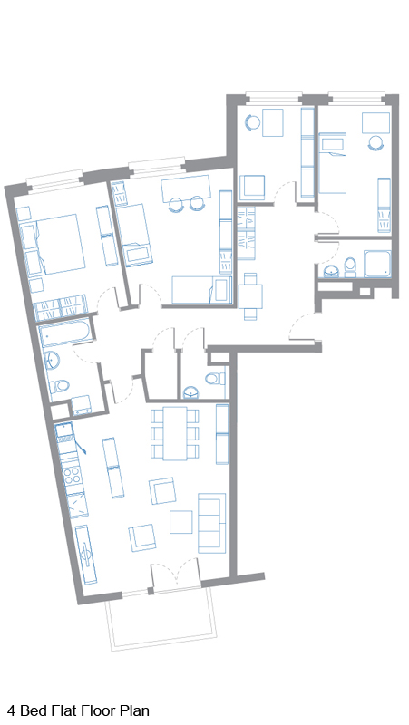 4 Bed Flat Floor Plan